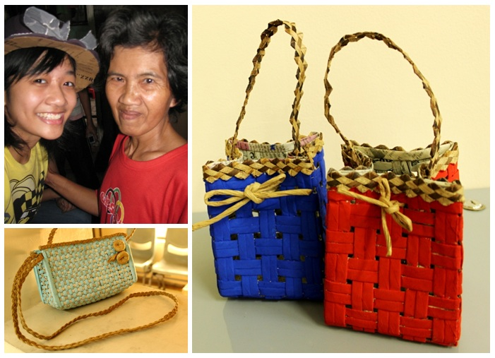 collage of photos. Me, nanay Theresa, and her products: gift bags, and a handbag